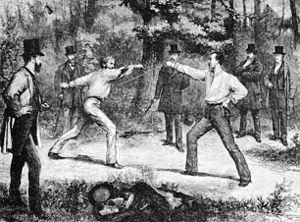 Duel - The Code Of Honor—A Duel In The Bois De Boulogne, Near Paris, wood engraving by Godefroy Durand, Harper's Weekly (January 1875)