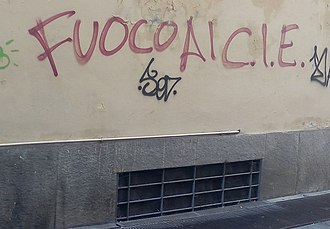 "Immigration detention - ""Fuoco ai CIE"" (let us burn CIEs (Identification and Expulsion Centres): graffiti in Turin, October 2016"