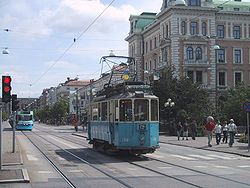 A vintage tram on Kungsportsavenyn. These trams are only run summer time as a tourist attraction.