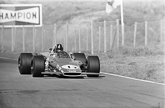 Lotus 63 - Graham Hill practicing the 63 at the 1969 Dutch Grand Prix.