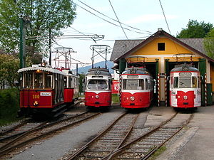Gmunden Tramway - Vehicles in the tram depot