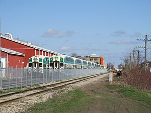 Kitchener railway station - Pair of GO trains parked at the layover facility, located just west of the station