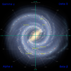 Star Trek: Voyager - An artistic rendition of the actual Milky Way galaxy, overlaid with the fictional quadrant system of the Star Trek universe and the location of certain species. Voyager had to make its way from above where the Kazon species is located back to Earth; this journey is a major plot element in the show
