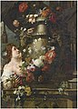 Gaspar Pieter Verburggen II and Pieter Ykens - A lady adorning a sculpted urn with roses, lilies and other flowers, with a draped column and grapes on a stone ledge.jpg