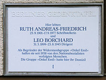 photo : plaque commémorative à Berlin
