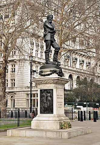 Statue of General Gordon - Statue of General Gordon on its shortened plinth at the Victoria Embankment in London