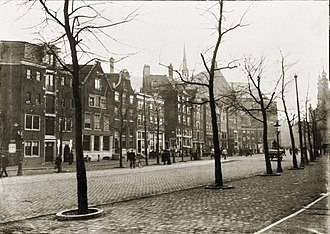 Tina Strobos - The Amsterdam street Nieuwezijds Voorburgwal where Strobos' house was located (photo c.1906–1910)
