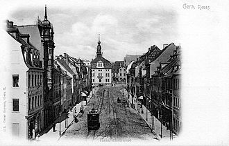 The Heinrichstrasse in the 1900s Gera - Heinrichstrasse mit Stadtmuseum.jpg