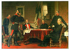 Leonhard Graf von Blumenthal - The German Headquarters at Versailles, 1870, by Anton von Werner. Leonhardt von Blumenthal standing to the left of the picture