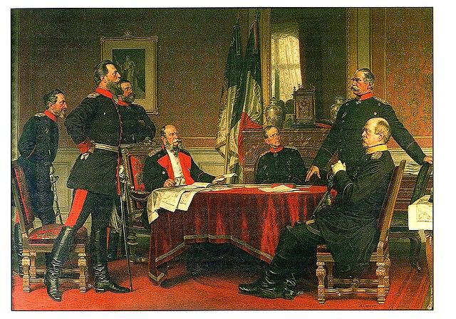 Германская штаб-квартира в Версале. Слева-направо: Блюменталь, наследный принц Фридрих, Верди дю Вернуа, Вильгельм I, Мольтке, Роон, Бисмарк