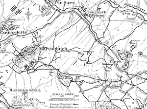 Attacks on High Wood - Image: German defensive lines, Martinpuich, Le Sars and Flers area, Somme 1916