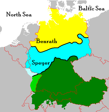 By the High German consonant shift, the map of German dialects is divided into Upper German (green), Central German (blue), and the Low German (yellow). The main isoglosses and the Benrath and Speyer lines are marked black.