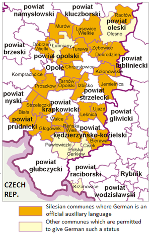 Bilingual communes in Poland - German language as auxiliary language in 22 municipalities in Opole and Silesia Voivodeships (slightly outdated map from 2010)