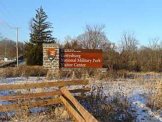 Winter at the Gettysburg Battlefield Gettysburg entrance.JPG