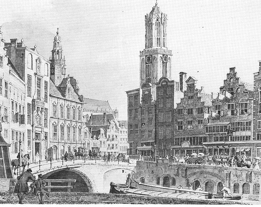 Gezicht op de Stadhuisbrug en de westzijde van de Oudegracht vanuit het noordoosten.jpg