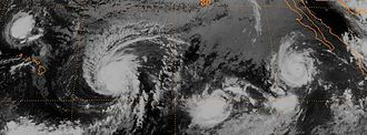 1988 Pacific hurricane season - The remnants of Tropical Storm Gilma (top-left), Hurricane Fabio (center-left), and Hurricane Hector (top-right), on August 3, 1988