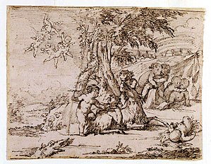 Giovanni Andrea Podestà - Landscape with a Bacchanal of Putti and a Goat