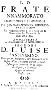 Giovanni Battista Pergolesi - Lo frate nnamorato - titlepage of the libretto - Naples 1734.png