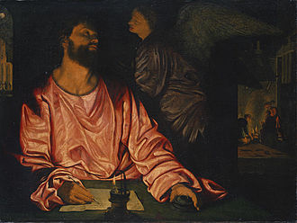 Girolamo Savoldo - Saint Matthew and the Angel, 1534, oil on canvas, Metropolitan Museum of Art
