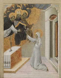 Giovanni di Paolo - Predella Panel from an Altarpiece, St. Catherine of Siena Invested with the Dominican Habit - 1966.2 - Cleveland Museum of Art.tiff