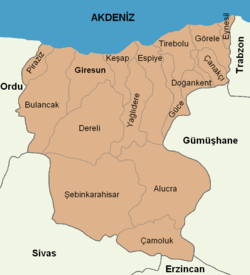 Giresun location districts.png