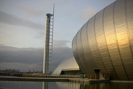 Glasgow Tower, Scotland's tallest tower, and the IMAX Cinema at the Glasgow Science Centre symbolise the increase in the importance of tourism to the city's economy. Glasgow Science Centre.jpg