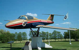 Snowbirds - Tutor prototype on display at Southport Aerospace, Manitoba in Golden Centennaires livery