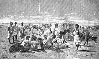 French conquest of Senegal - Moorish tribes meet to trade gum arabic at Bakel on the Senegal river, 1890