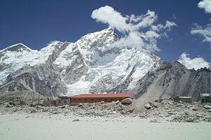 Gorakshep - Everest and Nuptse overlook a Gorak Shep lodge