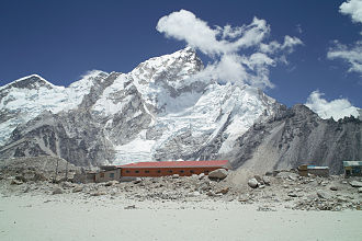 Gorakshep - Everest and Nuptse overlook a Gorak Shep lodge
