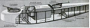 Gotha G.V - Internal fuselage arrangement of Burkhard's G.II through G.IV bomber designs. In G.Vs the Gotha Tunnel was expanded, the bomb bay and the gangway were replaced with a fuel tank