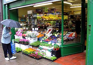 Greengrocer - In front of a greengrocer's shop in Gourock, Scotland
