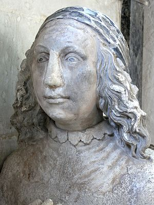 Sir John Northcote, 1st Baronet - Grace Halswell (d.1675), wife of Sir John Northcote, 1st Baronet (1599-1676). Detail from her kneeling effigy at base of monument to her father-in-law John Northcote (1570-1632), Newton St Cyres Church