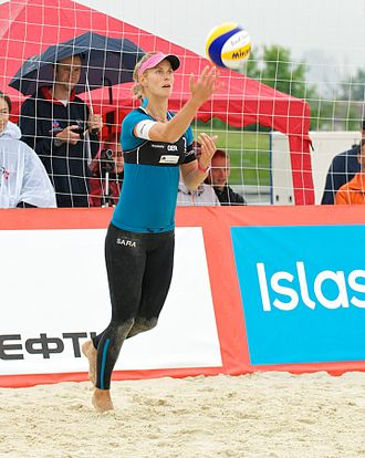 Compression garment - A beach volleyball player in tights