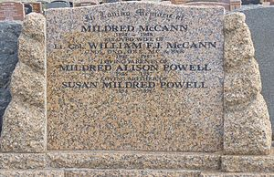 a colour photograph of a brown granite or marble headstone