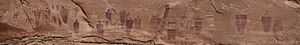 Wayne County, Utah - Panorama of the Great Gallery in Canyonlands National Park