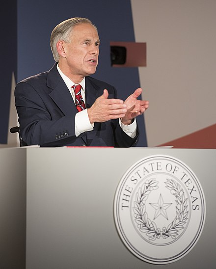 Abbott speaks at the Texas gubernatorial debate at the LBJ Presidential Library in 2018 Greg Abbott 2018.jpg