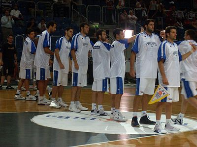 The Greek national basketball team in 2008. Twice European champions (1987 and 2005) and second in the world in 2006 Griechische Basketballnationalmannschaft juli 08.jpg