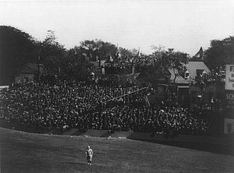 Griffith Stadium - Right field seats, and row houses with wildcat bleachers, before the high fence was installed