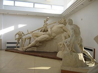 Odysseus blinding Polyphemus