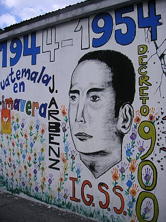 A mural celebrating President Árbenz and his landmark agrarian reform, which benefited 500,000 people Guatearbenz0870.JPG