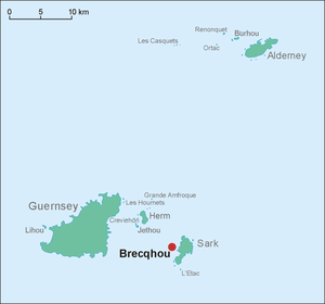 Brecqhou - This is a map of the Bailiwick of Guernsey. Brecqhou is off the west coast of Sark.