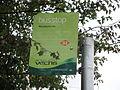 Gurnard Woodvale Inn bus stop flag in October 2011.JPG