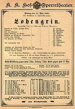 Aushang zur Vorstellung von Lohengrin, mit der Mahler in Wien debütierte (Quelle: Wikimedia)
