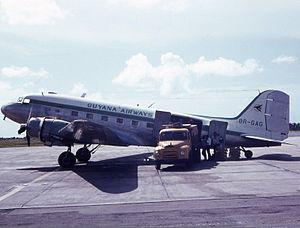 Guyana Airways - Douglas DC-3 of Guyana Airways at Grantley Adams International Airport, Barbados in 1969.