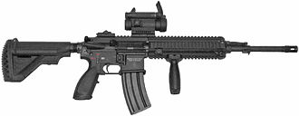 Heckler & Koch HK416 - Norwegian Army HK416N with an Aimpoint CompM4 sight and a vertical foregrip
