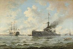 HMS Dreadnought and Victory by Henry J Morgan.jpg