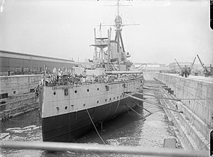 HMS Dreadnought in drydock at Portsmouth 1916 IWM SP 3127.jpg