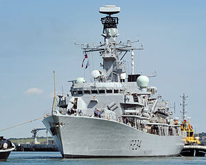 HMS Iron Duke (F234) - Leaving Portsmouth post refit, July 2014. The new radar is very obvious.