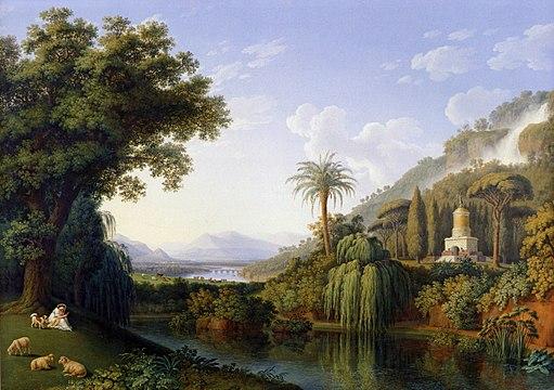 Hackert, Landschaft mit Motiven des Englischen Gartens in Caserta, 1797
